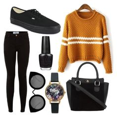 """""""outfit"""" by ellie-handibode ❤ liked on Polyvore featuring Vans, Quay, Olivia Burton and OPI"""