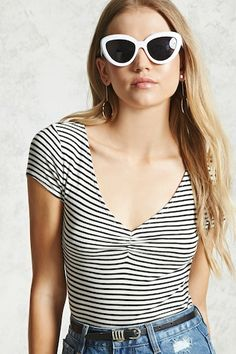 V-Neck Ribbed Stripe Top