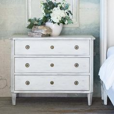 Referencing traditional European designs and employing age-old techniques, this chest wows in a weathered, Gustavian white finish. Gustavian Dresser, Gustavian, Linen Armchair, Dresser As Nightstand, White Finish, Home Decor, French Country Style Decorating, Farmhouse Furniture, French Country Furniture