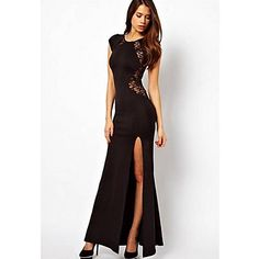 d017a717cb3a   5.99  Women s Work Maxi Dress - Solid Colored Lace Crew Neck All Seasons  Black Red