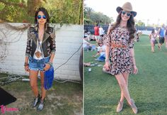 cool woven moto jacket outfit vs a floral printed dress suede combined with ankle boots and a floppy hat