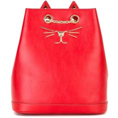 Charlotte Olympia Feline embroidered backpack (4,815 PEN) ❤ liked on Polyvore featuring bags, backpacks, red, red leather backpack, chain backpack, leather rucksack, leather knapsack and leather backpack