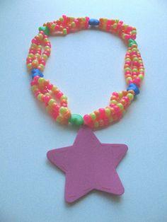 SALE Pink Stitched Star Multi Kandi Necklace by lilblucherrygrl, $5.00