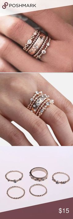 ROSE GOLD Stackable 5 crystal rings 100% brand new & high quality Beautiful stacked Rose Gold sparkle rings Perfect for you or Christmas gift  Material:Alloy Color:Rose gold Available Size: 7,8,9  Size       Diameter            Circumference 7#        17.3mm/0.68in      54.5mm/2.15in 8#        18.1mm/0.71in        57mm/2.24in 9#        19.0mm/0.75in      59.5mm/2.33in  Conversion : 1 inch=25.4mm or 1mm=0.0393inch Jewelry Rings