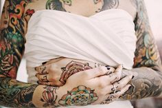 Heavily tattooed bride