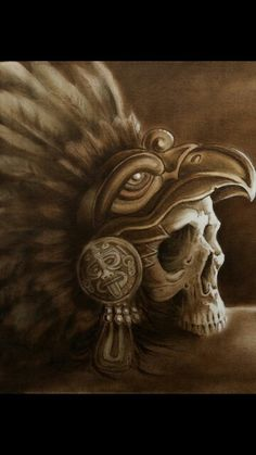 Aztec Eagle Warrior Skull