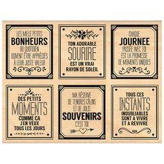 Mille étiquettes - Tampon bois - Bonheurs du quotidien - 10 x 13 cm