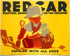 Redcar , East Coast England - L. Vintage Travel Beach Poster, Tom Purvis www.varaldocosmetica,it/en olive oil cosmetics . Beach Posters, Vintage Travel Posters, Retro Posters, Railway Posters, Beautiful Posters, Commercial Art, Art For Art Sake, Advertising Poster, Vintage Movies
