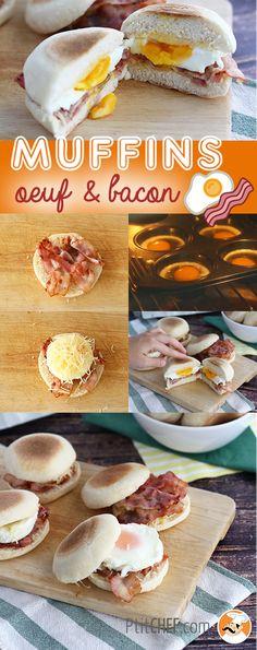 Muffins anglais oeuf / bacon - Parfait pour le petit-déjeuner ! // #ptitchef #recette #cuisine #muffins #bacon #oeuf #idée #repas #faitmaison #brunch