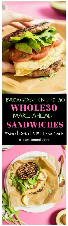 The best Make-Ahead Whole30 Breakfast Sandwiches recipe. Perfect breakfast on-the-go sandwiches. Great for easy quick breakfast, lunch, or dinner. Also Freezer friendly. Paleo, Keto, Whole30, and gluten-free with no added sugar. #IHeartUmami #Whole30breakfasts #whole30 #whole30recipes #Ketosandwiches #makeaheadbreakfast via @iheartumami