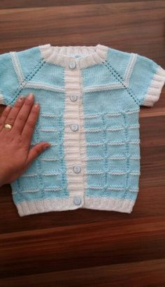 This Pin was discovered by Nin Kids Patterns, Baby Knitting Patterns, Knitting Designs, Hand Knitting, Knit Vest, Baby Cardigan, Baby Sweaters, Baby Dress, Tunisian Crochet