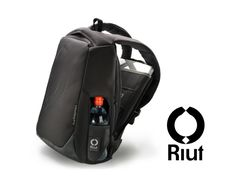 "Safe city travel: all zips face your back. For 15"" laptop + A4 docs. Grey + black. Join the rucksack revolution on www.riut.co.uk!"