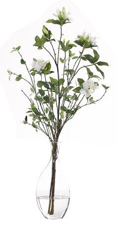 Azalea Branch | Set of 2 (WF396/2): Azalea Branch, White, Glass Odd Bubble, Set of 2, 16wx15dx36