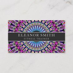 Shop Colorful Magic Mandala Business Card created by ZyddArt. Art Business Cards, Beauty Business Cards, Elegant Business Cards, Business Card Size, Business Card Design, Print Templates, Card Templates, Print Design, Graphic Design