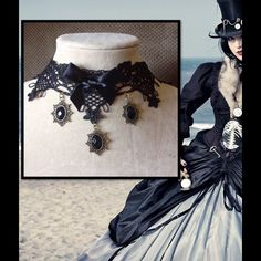 Goth Steampunk Lace Choker Necklace BLACK Delicate black lace and velvet ribbon with brass pendants.  Lobster claw brass clasp in the back. See mannequin photo to estimate fit. Brand new. Accessories