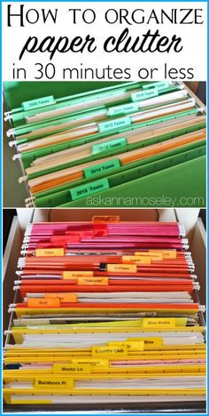 How to Organize Paper Clutter in 30 minutes or Less, Home organization tips Organisation Hacks, Organizing Paperwork, Clutter Organization, Household Organization, Home Office Organization, Organizing Ideas, Organising, Filing Cabinet Organization, File Folder Organization
