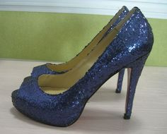 navy blue glitter shoe has a peep toe, and red sole. sizes: US Please leave your size when placing order. Navy Blue Wedding Shoes, Blue Shoes, Glitter Pumps, Blue Glitter, Bridesmaids Heels, July Wedding, Peep Toe Shoes, Red Sole, Red Bottoms