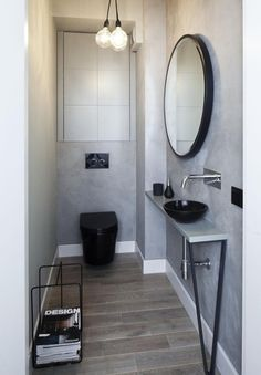 22 Examples Of Minimal Interior Design / Here we showcase a a collection of perfectly minimal interior design examples for you to use as inspiration. Check out the previous post in the series: 22 Bathroom Design Black, Bathroom Interior Design, Black Toilet, Guest Toilet, Wood Bathroom, Minimalism Interior, Toilet Design, Trendy Bathroom, Modern Floor Tiles