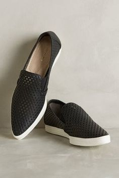 All Black Pointed Perforation Sneakers Black Sneakers #anthrofave
