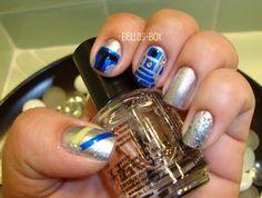 Star Wars R2-D2 Theme Nail Art