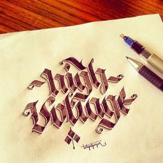 Some Shaded Lettering with Parallelpen&Pencil - Part 2 by Tolga Girgin, via Behance Calligraphy Drawing, Calligraphy Signs, How To Write Calligraphy, Script Lettering, Lettering Styles, Typography Letters, Typography Logo, Lettering Design, Caligraphy