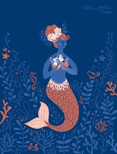 Mermaid illustration for American Greetings stationery. ©AGC Art by Claire Mojher DeLucca