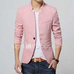 Men's Solid Casual Blazer,Cotton Long Sleeve Blue / Pink / Gray 2017 - €23.81