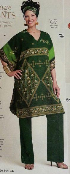 d6a1b29e1aad Ashro Goddess pants suit green/gold size XXL African style item bonus scarf  African Style