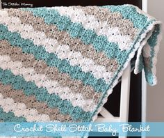 patterns for boy crochet blankets | Crochet Shell Stitch Baby Blanket by The Stitchin' Mommy www ...