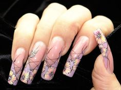 French tip floral nails in corset