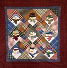 http://www.sewhappy.me/wp-content/uploads/2012/10/Snowmany.jpg    SewHappy.me blog, pieced and applique wall hanging