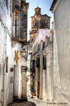 Street scene in Arcos de la Frontera, Andalusia_ Spain Places Around The World, Oh The Places You'll Go, Great Places, Places To Travel, Places To Visit, Around The Worlds, Beautiful Buildings, Beautiful Places, Spain And Portugal