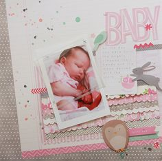 Baby girl scrapbook layout featuring @pebblesinc #SpecialDelivery collection by @beckywilliams #scrapbooking  Get Pebbles at www.craftysteals.com