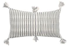 Antigua 12x20 Tassel Corner Pillow, Gray and White Stripes -- This snappy, tasseled pillow makes for a funky yet sophisticated accent wherever you put it--without clashing. The cover was handwoven in partnership with weaver Olga Reiche and her artisan groups just outside of Antigua, Guatemala.