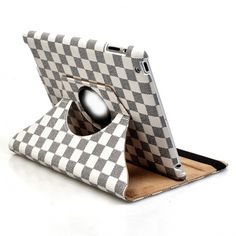 360 degrees Rotating Stand Leather Magnetic Smart Case Cover for iPad 2/The New iPad - White Black
