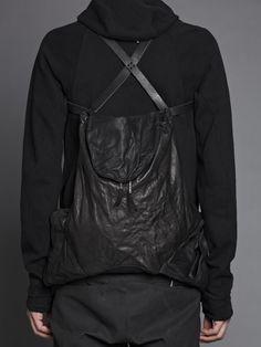 Boris Bidjan Saberi cow leather backpack with pockets