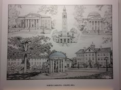 "University of North Carolina-Chapel Hill pen and ink collage print. Limited edition 8""x10"" size pen and ink print from hand-drawn original of the North Carolina's campus in Chapel Hill, NC. Includes scenes of the Wilson Library, Morehead Planetarium, Bell Tower, and a scene showing the Old Well with Old East and the South Building behind it; all notable landmarks on North Carolina's campus. Prints are from a limited run of 250 prints and are signed. Your purchase includes print, foam-core..."