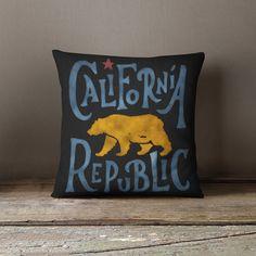 California Flag  California Pillow  California by wfrancisdesign