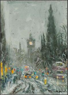 HENRY KONDRACKI SCOT MONUMENT oil on canvas, signed 13cm x 18cm Glasgow, Oil On Canvas, Auction, Painting, Art, Art Background, Painting Art, Kunst, Paintings