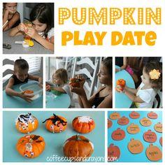 Pumpkin Play Date Activities halloween craft, play date activities, halloween play, decorating pumpkins, play dates, playdate activities, learning activities, pumpkin play, kid