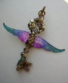 Winged Clockwork Key Pendant -- Steampunk Blue-Purple-Pink Inked Large Feathered Winged Key with Gears, Swarovski Crystals (A Key to Time)