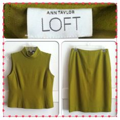 ⛲️Vintage Ann Taylor Loft Skirt Suit Circa 1999, beautiful chartreuse green wool skirt suit, fully lined, in GUC. Sleeveless top & pencil skirt with back slit. I'd keep this if it still fit me! Very classy & professional. Ladies 6 petite. Ann Taylor Skirts