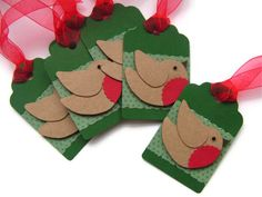Christmas Robin Handmade Gift Tags Red Green x 6 by noolys on Etsy, £3.50