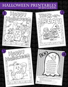 4 Free printable Halloween Coloring pages designed by Jen Goode