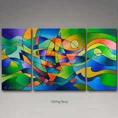 Sailing Away, Triptych Print Set Painting by Sally Trace