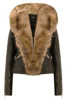 WOMENS LADIES FULL FRONT FAUX FUR LEATHER PVC BOMBER BIKER CROPPED JACKET.