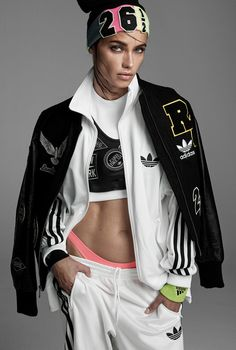 Adriana Lima for Vogue Italia June 2014 wearing Rita's collection for Adidas which is set to be released on the 21st of August called 'Black Pack'