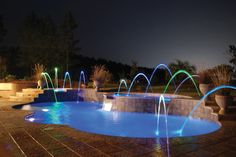 This Trilogy Pool with the lighting looks amazing at night.  Build Latham