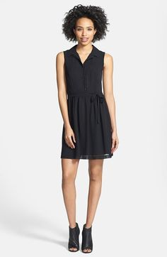kensie Sleeveless Crepe Chiffon Shirtdress available at #Nordstrom