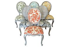 Eclectic Dining Chairs Set of 4 6 8 10 Upholstered in Colorful Thomas Paul Fabric Cane Back & French Accent Chairs Vintage by THRONEupholstery on Etsy https://www.etsy.com/listing/127095230/eclectic-dining-chairs-set-of-4-6-8-10